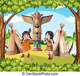 tribo, índios americanos, nativo