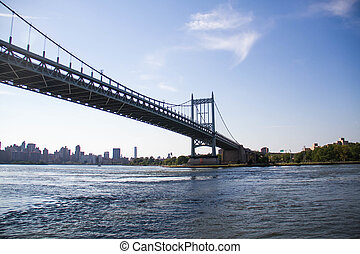 Triborough bridge over the river with blue sky, New York