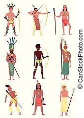 tribu, caractères, gens, ensemble, membre, américain, aborigène, vecteur, indien, fond, africaine, illustrations, australien, armé, blanc, indigène