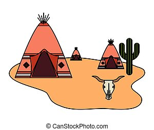 tribu, crâne, américain, cactus, désert, indigène