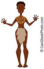 tribu, femme, or, colliers, africaine, membre, loincloth