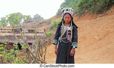 tribu, gens, tribal, indigène, pongsali, village, akha, laos, indigène