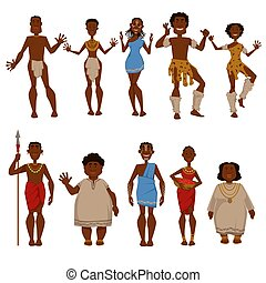 tribu, gens, vecteur, caractères, africaine, indigène