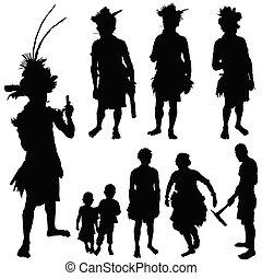 tribu, gens, vecteur, silhouette