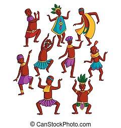 tribu, gente, colorido, conjunto, círculo, bailando,...