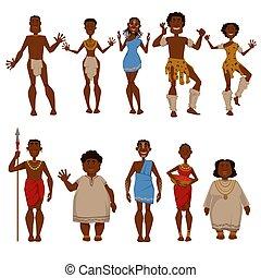 tribu, gente, vector, caracteres, africano, nativo