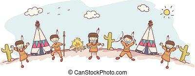 tribu, gosses, stickman, indien amérique, indigène