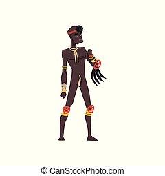 tribu, illustration, vecteur, arrière-plan noir, africaine, blanc, homme, indigène