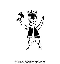 tribu, jeu, gosses, croquis, illustration, tradition, toys., vector., handrawn, dessin animé