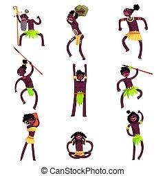 tribu, loincloths, feuille, guerriers, africaine, membres, ...