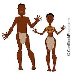 tribu, mujer, joyas, piel, aborígenes, animal, hombre...