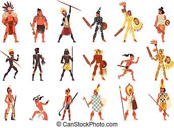 tribu, traditionnel, gens arrière-plan, ensemble, armé, américain, membres, aborigène, vecteur, tribus, africaine, illustrations, australien, habillement, blanc, indigène
