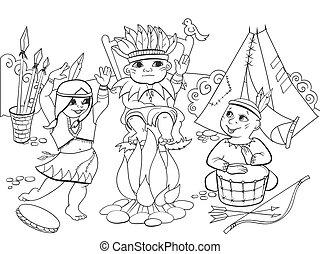 tribu, vecteur, adultes, formulaire, trois enfants, indien,...