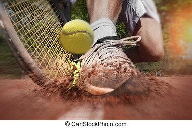 tribunal, argile, joueur, tennis