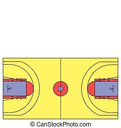 tribunal baloncesto, ilustración, vector, escala, exacto
