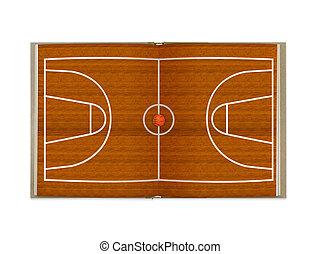 tribunal, baloncesto, libro abierto