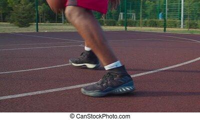 tribunal, basket-ball, dribble, balle, athlète, extérieur