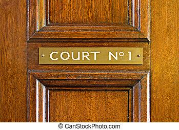 tribunal, chêne, porte, mener