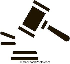 tribunal, droit & loi, jugement, marteau, illustration, vecteur, icône