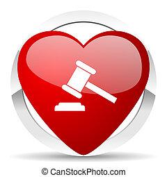tribunal, enchère, symbole, valentin, verdict, signe, icône