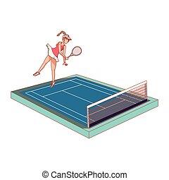tribunal, femme, tennis, pratiquer