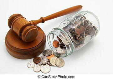 tribunal, fiole argent, légal, marteau, monnaie