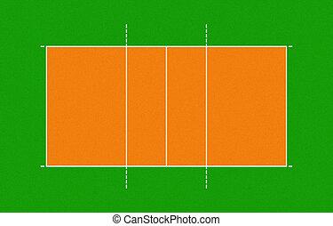 tribunal, ilustración, voleibol