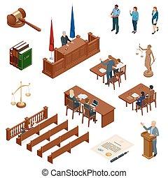 tribunal, isométrique, regulations., icônes, set., justice., légal, symboles, vecteur, illustration, jugement, juridique, droit & loi, marteau, juridique