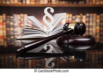 tribunal, livres, justice, paragraphe, marteau, droit & loi, concept