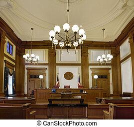 tribunal, orégon, en ville, pionnier, salle audience,...