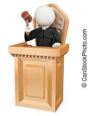 tribunal, personas., juez, el condenar, blanco, 3d