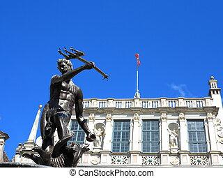 tribunal, pologne, neptune, fontaine, artus, gdansk