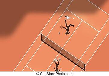 tribunal, sommet, tennis, argile, allumette, vue