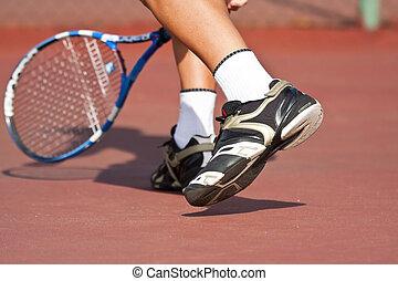 tribunal, tenis, pies, jugador, piernas, juego