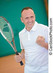 tribunal, tennis, victoire, confection, geste, homme