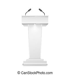 Tribune Isolated Vector. White Clean Podium Tribune Rostrum Stand. With Microphones. Illustration