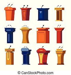 Tribune or debate podium, stage stand, rostrum with...