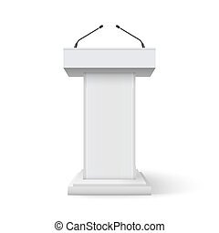 Tribune podium rostrum speech stand. Conference stage with...