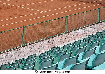 tribune, sièges, et, court tennis