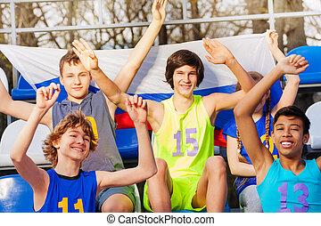 tribune, sport, groupe, défenseurs, stadium's