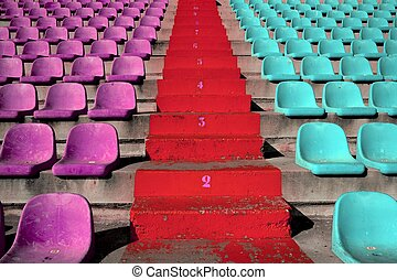tribune, stands, stade, coloré, escalier