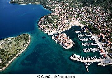 Tribunj Croatia - Aerial photo of island section of the...