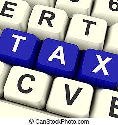 tributação, teclas, mostrando, imposto, computador, online,...