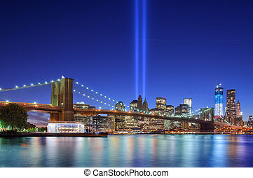 Tribute in Light in Downtown New York City in rememberance of the tragedy of 9/11.
