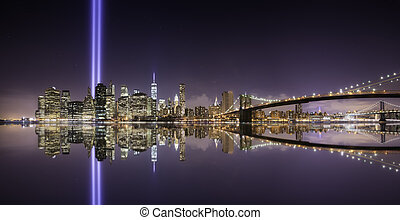 Tribute lights pano - Pano of Manhattan in the memorial day,...