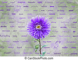 Tribute To Mothers - Lavender dahlia with words about...