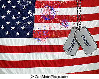 Tribute To The Brave - Fireworks and military dog tags on a...