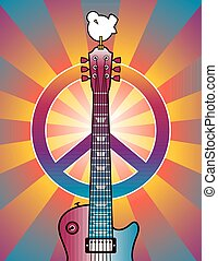 Retro-styled illustration of a guitar, peace symbol and dove on a burst background.