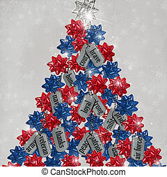 Tribute Tree - Military dog tags and patriotic bows on...