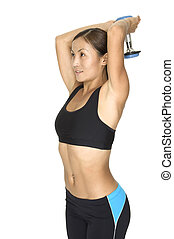 Triceps Press - A female fitness instructor demonstrates the...